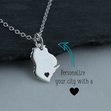 Personalized Wisconsin State Necklace - Heart Engraved Near City - 925 Silver