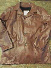 London Fog Men's Leather Button-Up Car Coat Removable Liner Sz 46 Long Vintage