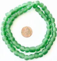 Green transparent Matte African Ghana Krobo recycled Glass trade Beads