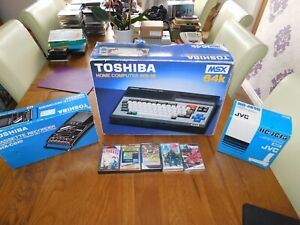 SONY TOSHIBA MSX 64K COMPUTER BOXED & GAMES & TAPE RECORDER & JOYSTICKS