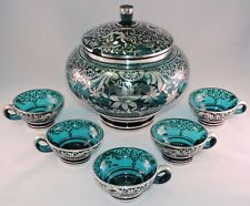 VINTAGE ART GLASS PUNCH SET SILVER OVERLAY PEACOCK BLUE