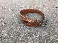 Martin Dingman Brown Alligator Grain Calfskin Leather Belt 40