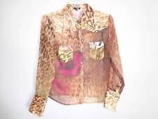 Jane Dow button down shirt brown gold Giraffe animal print rose flowers SZ L