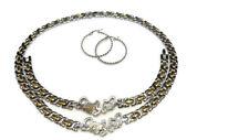 Womens 2 Tone I Love You Hugs And Kisses Necklace Bracelet Hoop Earrings Set