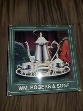 NIB Vintage WM Rogers Silver plate Coffee Pot, Sugar Bowl, Creamer, tray tea