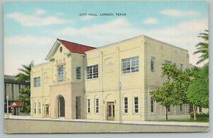 Laredo Texas~City Hall~Arched Entryway~Unique Lampposts~Vintage Postcard