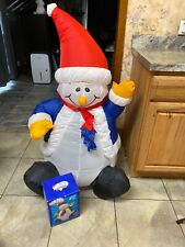Pudgy Chunky SNOWMAN Airblown Inflatable Christmas Coat Scarf Santa Hat 4ft
