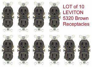 10-PK Leviton BROWN Duplex Receptacle Outlet 15A NEMA 5-15R 125V NOS 5320 NEW