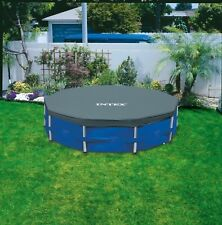 INTEX 15ft Round Steel Framed Swimming Pool Cover Debris Sheet Clean Paddling