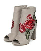 New Women Wild Diva Morris-03C Peep Toe Rose Embroidered Chunky Heel Bootie
