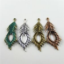 MultiColors Plated Alloy Peacock Feather Charms Pendant Jewelry Making Crafts 8x