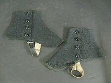 Antique Bond Street Wool Spats Pearl charcoal Grey wool spats mens ladies spats