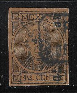 uba59 Mexico 1868 thick imperforate Sc#59c color error V de Calpulalpan
