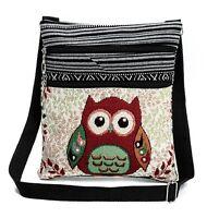 Umhängetasche Schultertasche Stofftasche im Ethno Style mit Eulenmotiven