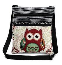 Umhängetasche | Schultertasche | Stofftasche im Ethno Style mit Eulenmotiven