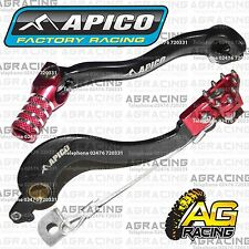 Apico Black Red Rear Brake & Gear Pedal Lever For Honda CRF 250R 2004-2009 MotoX