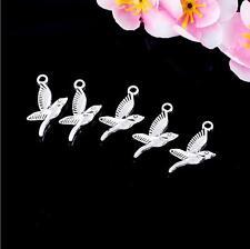 10pcs Antique silver flying bird charm pendants F0067