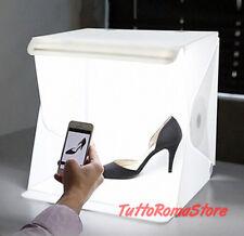 ✔ BOX FOTO FOTOGRAFICO LED CUBO SFONDO NERO BIANCO PIEGHEVOLE TENDA FOTOGRAFIA