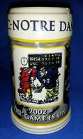 """2002 NOTRE DAME v. USC  BEER STEIN Mug Tankard Cup NCAA """"THE GAME IS ON""""  UNUSED"""