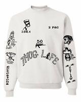 2PAC Tattoos Sweatshirt Unisex White Sweatshirt