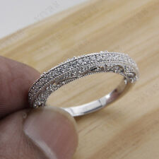 Wedding Band Ring 14k White Gold 0.50ct Round Cut Diamond Vintage Engagement