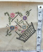 Antique Embroidered Remnant Fabric Flower A13 Basket Embroidery Primitive