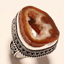 BROWN WINDOW AGATE VINTAGE STYLE 925 SILVER JEWELRY RING 6