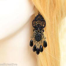 1 PAIR Lolita Black Rhinestone Drop Floral Lace Dangle Handmade Gothic Earrings