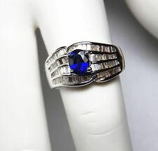 MAGNIFICENT 1.04ct BLUE SAPPHIRE AND 1ct DIAMOND + 18K WHITE GOLD RING