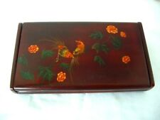 Vintage Hand Painted golden pheasants Chinese Lacquered Wooden Box,signed