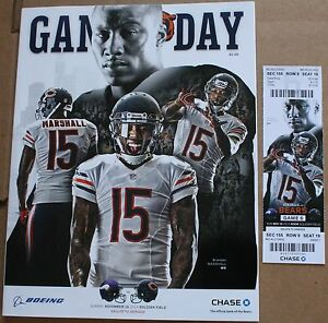 2014 Chicago Bears Minnesota Vikings Program w/Ticket Brandon Marshall Cover