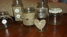 Wedding Centrepiece Candle/Floral Jars  3 Medium 3 Small Rustic/Vintage style