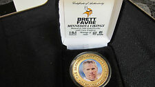 Minnesota Viking Brett Favre 24kt Gold Commerative Coin Mintage of only 5,000