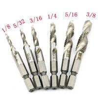 WOW 6PCS 1/4 Hex Shank High Speed Steel Spiral Screw Thread Taps Drill Bits Set