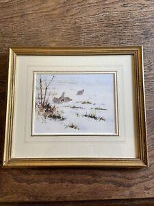 Roger McPhail Original Watercolour Framed Painting Winter Grouse