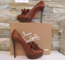 NIB! CHRISTIAN LOUBOUTIN BROWN LEATHER AGENCE TASSEL 140 PLATFORM  Sz 39.5, US 9