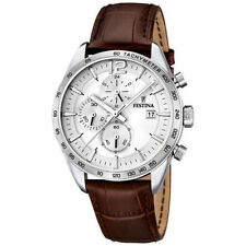 Festina Men's Quartz Watch With White Dial Chronograph Display and Brown Leather