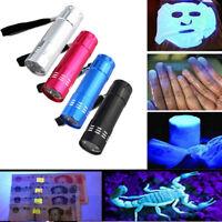 Mini Aluminum UV Ultra Violet 9LED 3x AAA Flashlight Blacklight Torch Light Lamp
