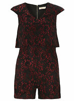 Womens Ladies New  Black Gold Red Lace Floral Playsuit/Shorts (Sizes 8 - 16)
