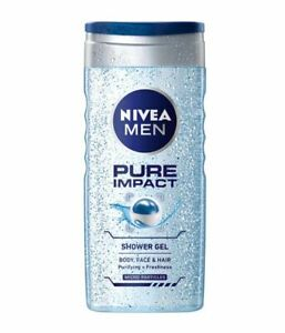 250ml Pure Impact Shower Gel Nivea For Men Body Face & Hair Hydration