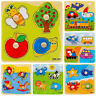 Wooden Baby Toddler Intelligence Development Animal Brick Puzzle Toy Classic CF7