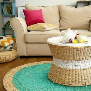 Jute Round Turquoise Rug Jute Carpet Reversible Braided 5x5 Feet Rustic Look