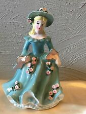 Vintage 1957 Geo Z Lefton 50482 Japan Porcelain Victorian Lady Planter Vase