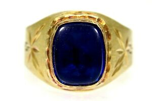 Unusual Vintage Sapphire Cabochon 14k Yellow Gold Signet Ring size R ~ US 8 3/4