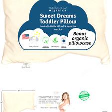 Organic Toddler Pillow & Pillowcase, Pillow Made in Usa, 13X18, Soft, Hypoall.