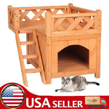 Wooden Pet House Cat Room Dog Puppy Kennel Indoor Outdoor Shelter with Balcony