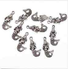 Free shipping jewelry accessories charm 10pcs Tibet silver mermaid pendant #