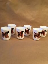 Very RARE set Of 6 KENNETH TOWNSEND Happy COW Milk Glass Glasses - Egizia