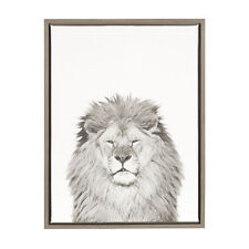 Sylvie Lion Black and White Portrait Gray Framed Canvas Wall Art by Simon Te Tai