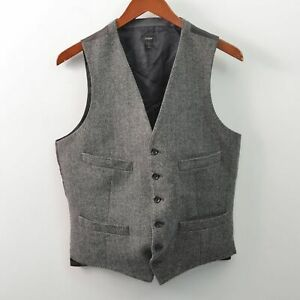 J Crew Mens Small S Wool Waistcoat Vest Italian Cloth Viscose Ludlow Herringbone